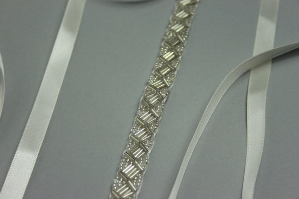 Silver Zigzag Bead and Satin Bridal Belt
