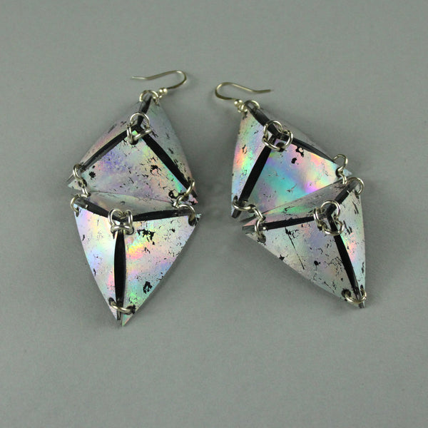 Double Pyramid Earrings - Iridescent Silver + Black