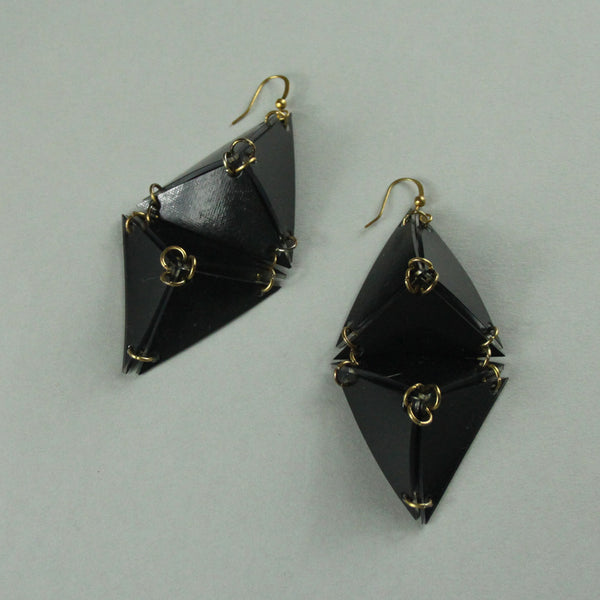Double Pyramid Earrings - Black