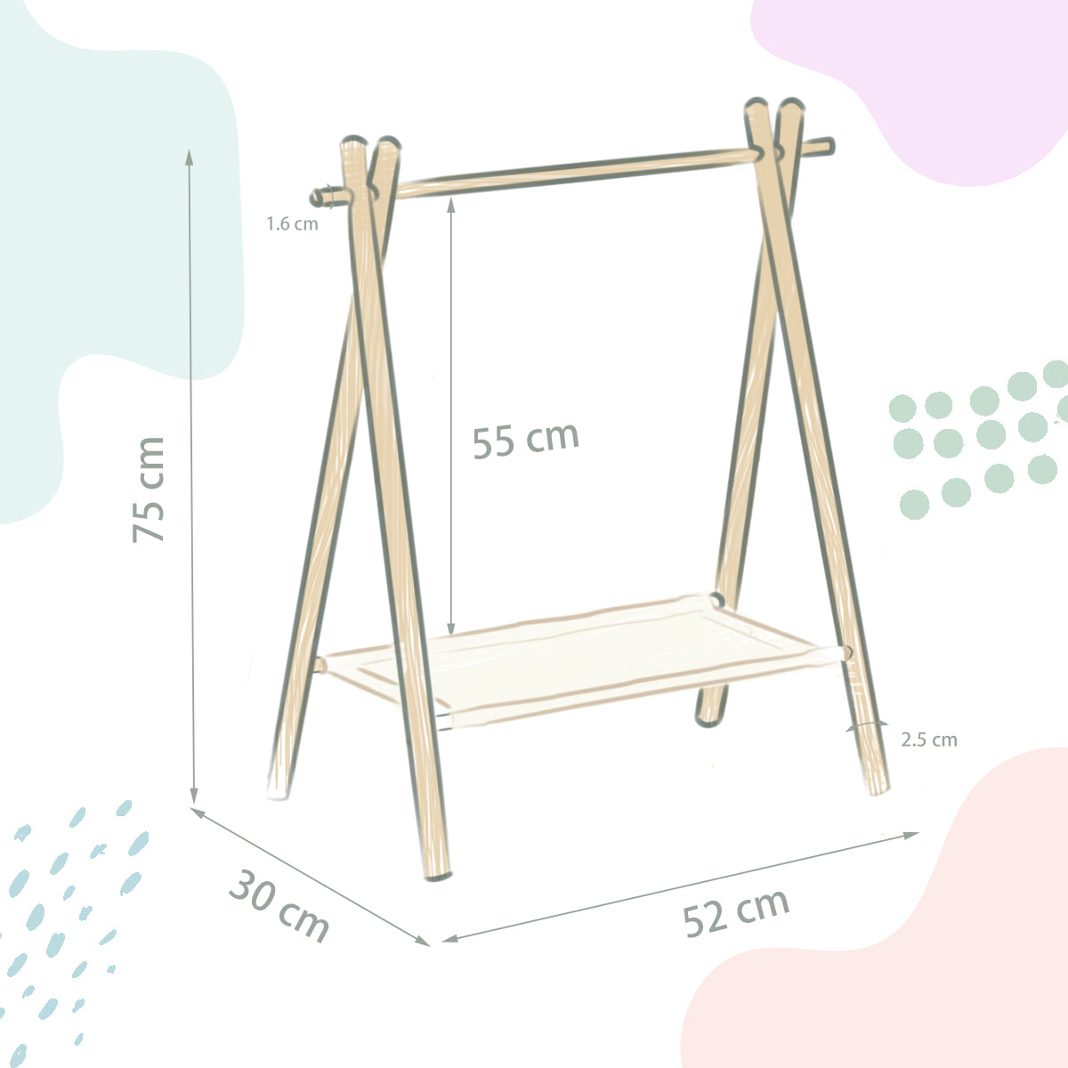G & G Birch Wood Clothing Rack