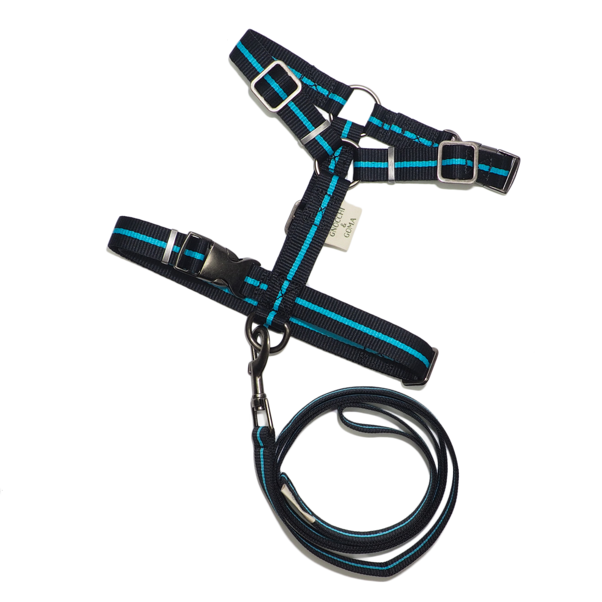 Duo Buckle Strap Harness Set - Black/Blue