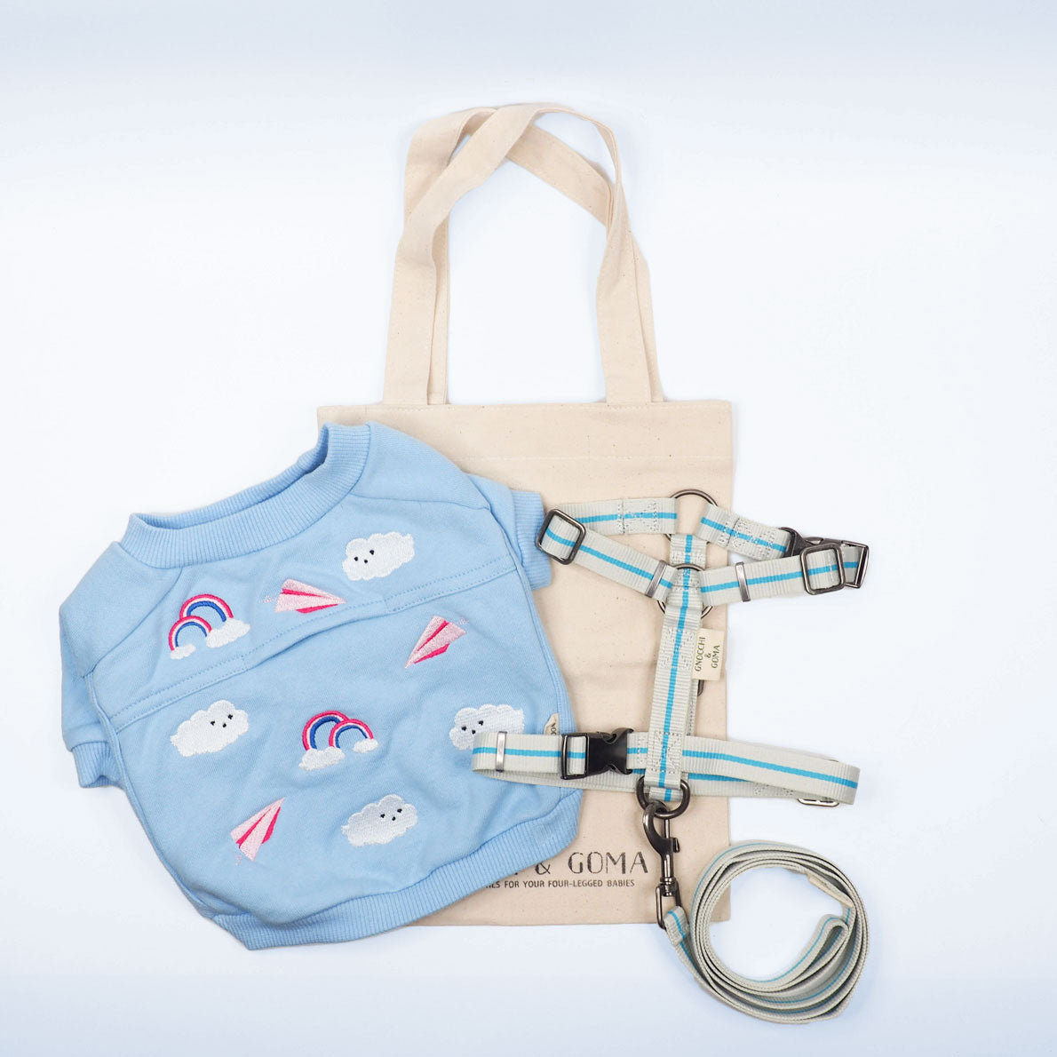 Duo Buckle Strap Harness Set - Cream/Light Blue