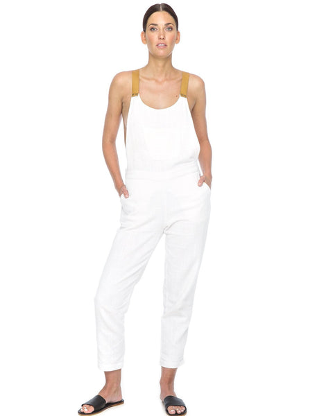 The Nic Linen & Leather Jumpsuit | White - The Happiness Journey