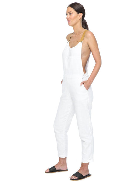 Nic Linen & Leather Jumpsuit | White - The Happiness Journey