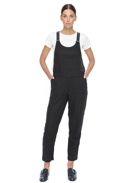 Nic Linen & Leather Jumpsuit | Black - The Happiness Journey