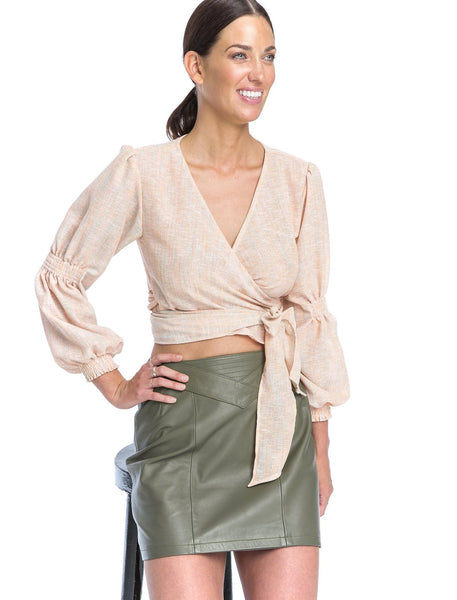 Bella Mini Skirt | KHAKI - The Happiness Journey