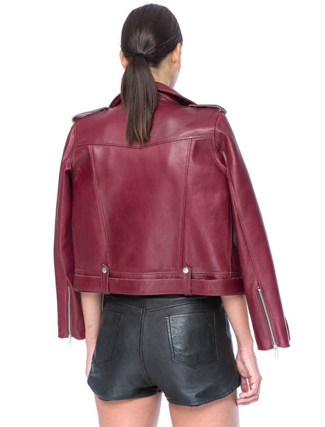 Liberty Biker Jacket | Burgundy - The Happiness Journey
