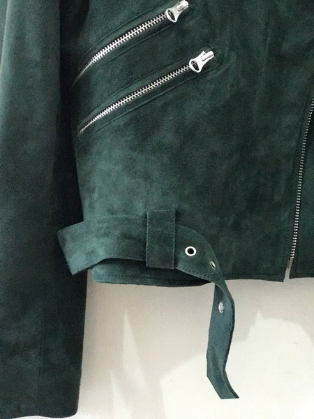 Suede Liberty Biker | Forest Green - The Happiness Journey