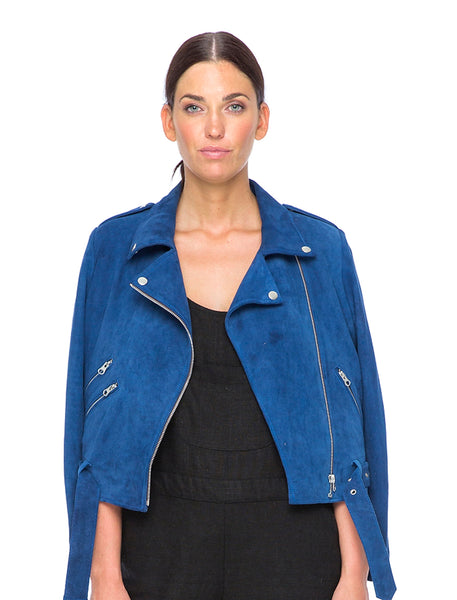 Suede Liberty Biker | Electric Blue - The Happiness Journey