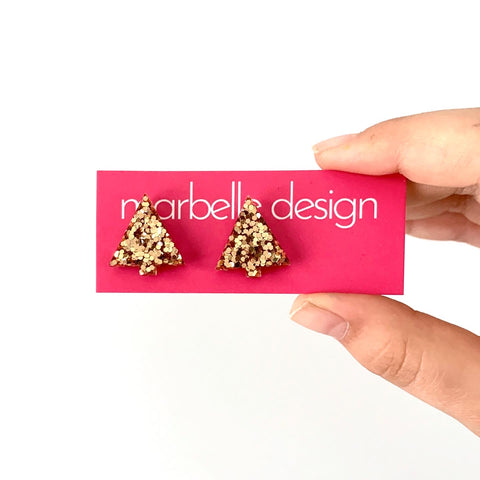 Rose Gold Glitter Christmas Tree Post Earrings