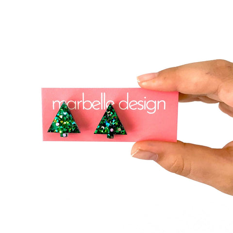 Green Christmas Tree Post Earrings