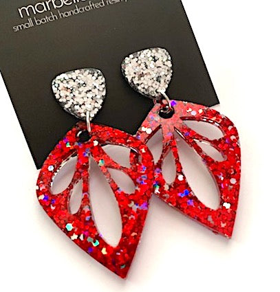 'Lily' Glitter Dangles in Red