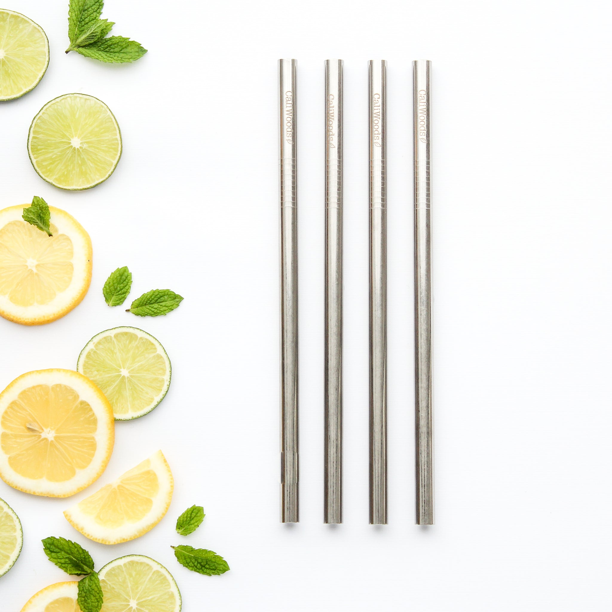 CaliWoods Reusable Stainless Steel Smoothie Straws