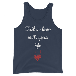 Fall in love with your life men tank top design