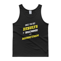 Results Become Addiction men tank top design