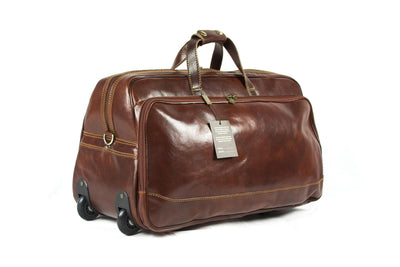 Luciano Fabrini Large Leather Wheeled Holdall