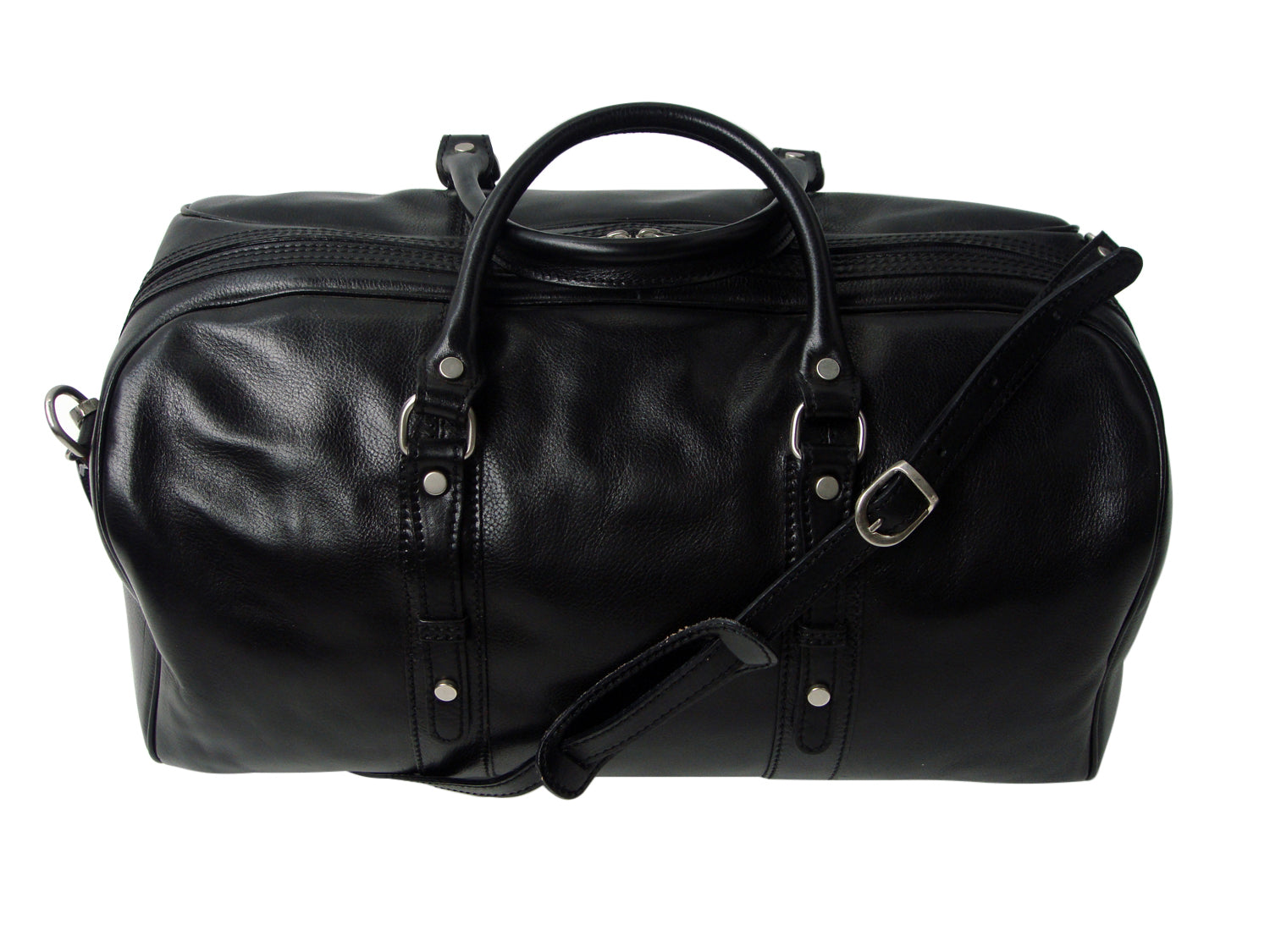 Luciano Fabrini Large Leather Barrel Bag - Black