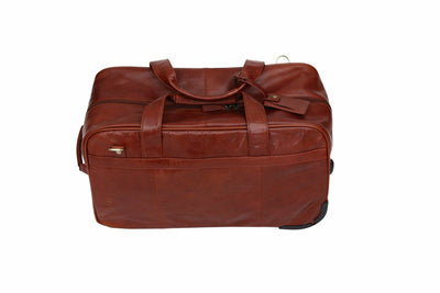 Babila Deluxe Cognac 2-Wheeled Leather Rolling Travel Bag
