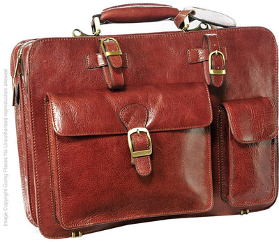 Babila Twin Section Leather Briefcase 8119li