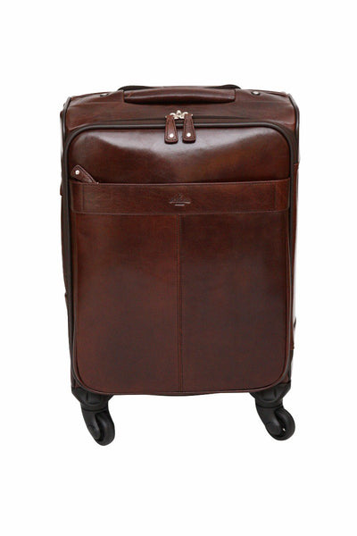 Babila Leather 20 inch 4-Wheeled Trolley Case