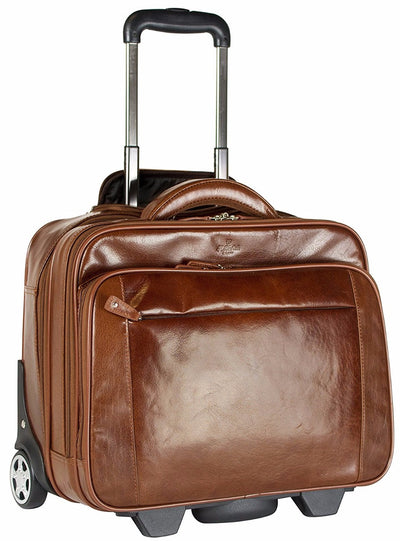 Babila Leather Laptop Cabin Size Trolley Briefcase