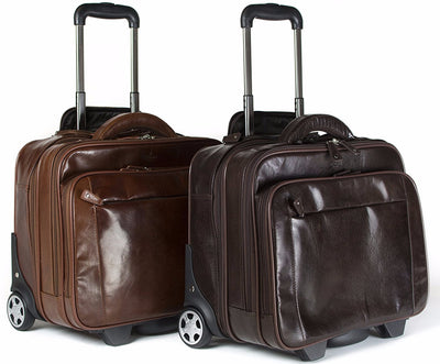 Babila Leather Laptop Cabin Size Trolley Briefcase Overnight Bag