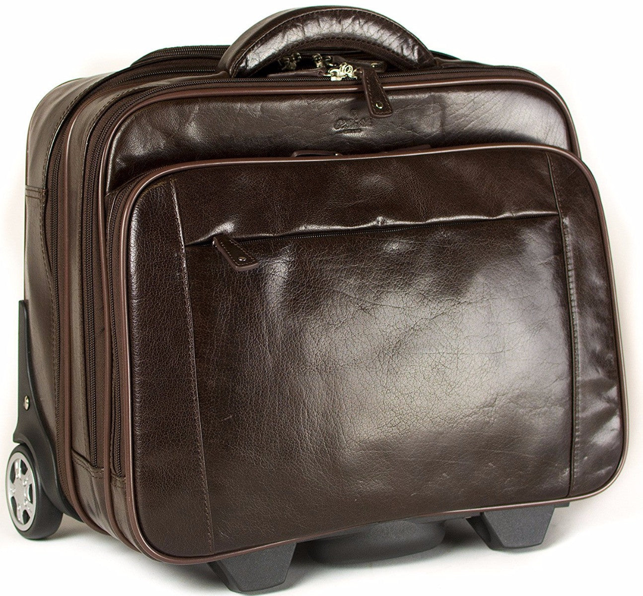 Babila leather laptop cabin size trolley briefcase for Laptop cabin bag