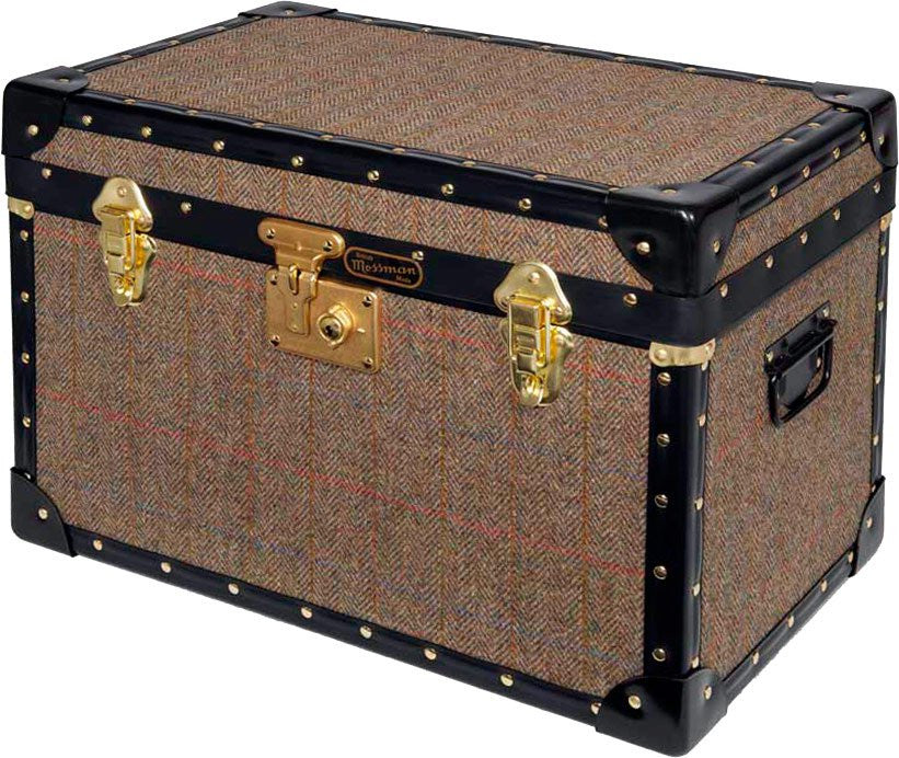 Harris Tweed Stool Box With Flip Lock