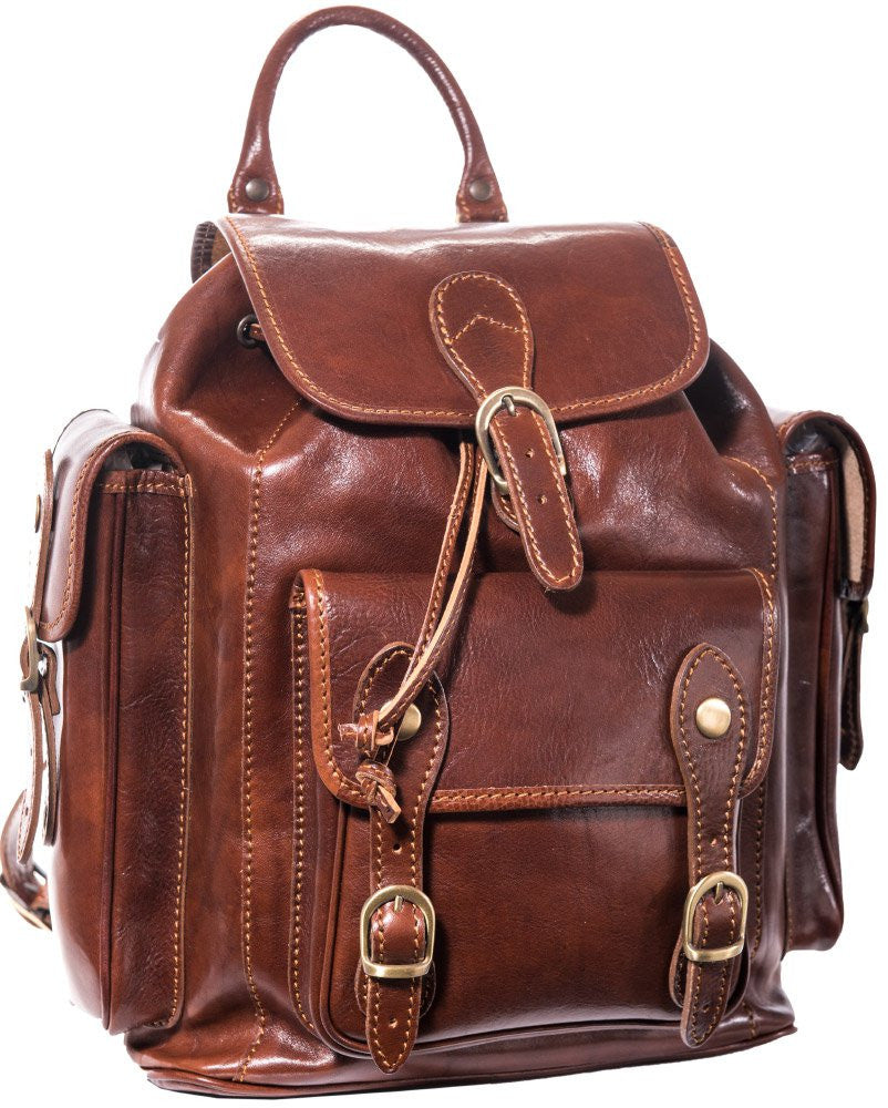 Luciano Fabrini Multi Pocket Leather Backpack