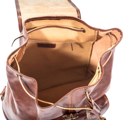 Luciano Fabrini Twin Pocket Leather Backpack