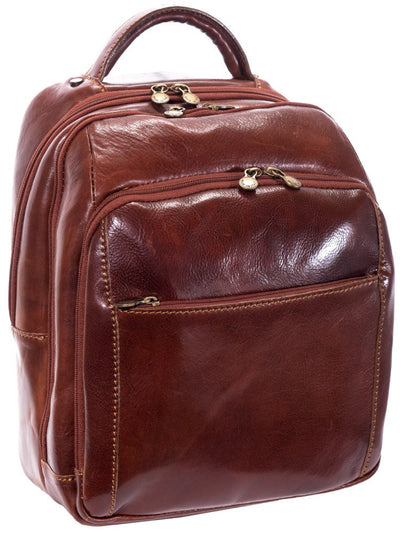 Luciano Fabrini Multi Section Leather Backpack