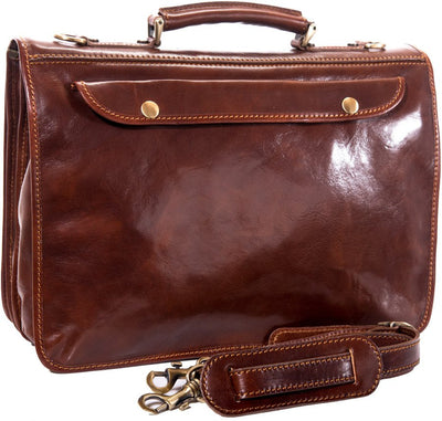 Luciano Fabrini Leather Twin Section Briefcase With Organiser