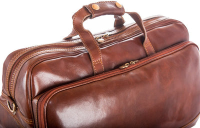 Luciano Fabrini Small Leather Wheeled Holdall