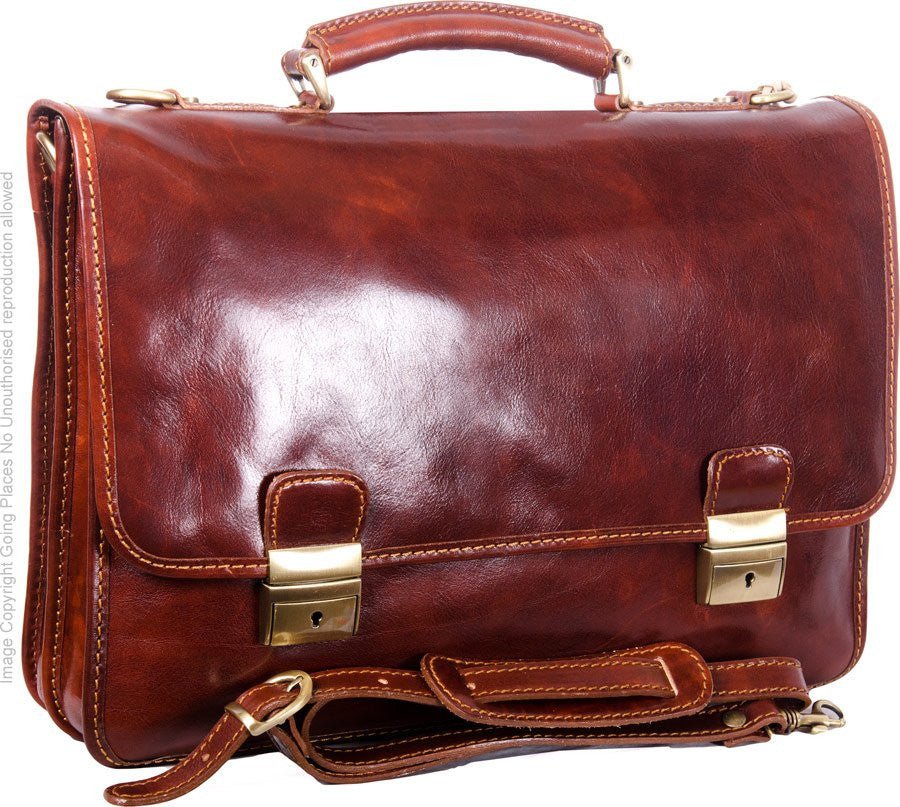 Luciano Fabrini Slim Twin Section Leather Briefcase