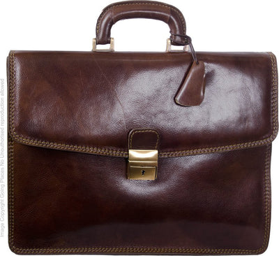 Luciano Fabrini Slim Line Leather Briefcase