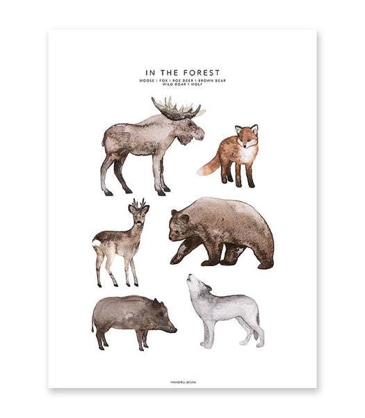 In the Forest Poster Kids Room Nursery Decoration Fashionell House of Mint