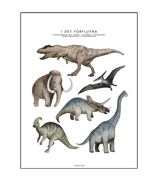 In the Past Dinosaur Poster Kids Room Nursery Decoration Fashionell House of Mint