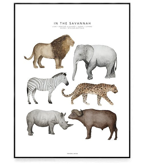 In the Savannah Poster Kids Room Nursery Decoration Fashionell House of Mint
