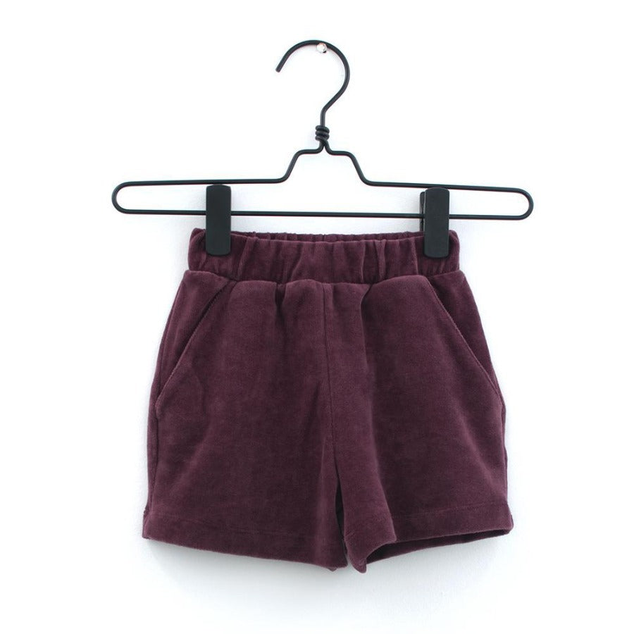 House Of Mint-Bottoms-Piupia-Burgundy Velour Shorts