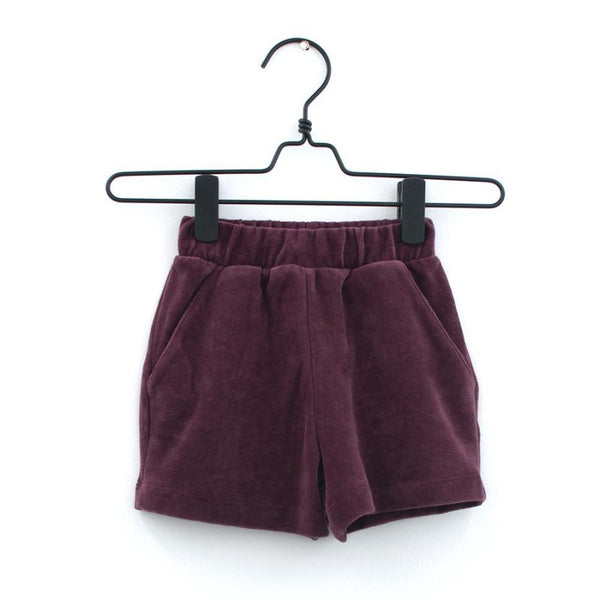 Burgundy Velour Shorts