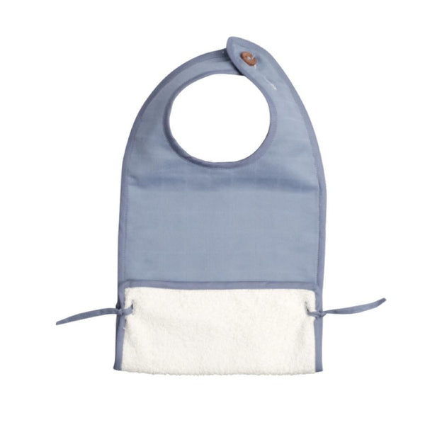 Muslin Feeding Bib Blue-Eat-Fabelab-House Of Mint