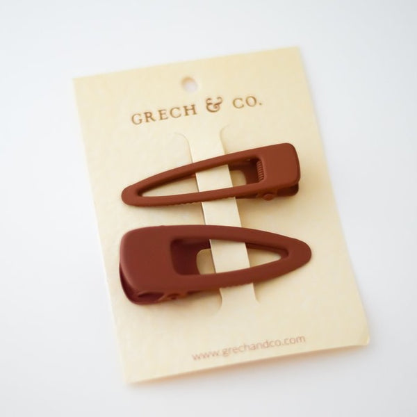 Matte Clips Set of 2 - Rust Girl Hair Accessories House of Mint