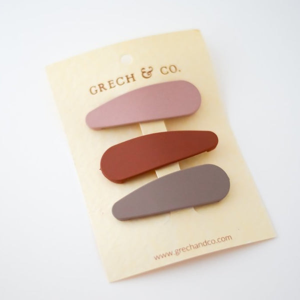 Snap Matte Clip Set of 3- Stone, Shell, Rust Girl Hair Accessories- Grech & Co House of Mint