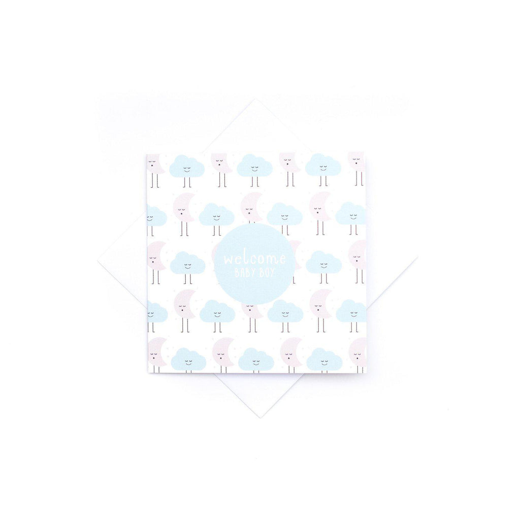 House Of Mint-Stationary-Two Little Ducklings-Card Baby Boy-Sleepy Clouds