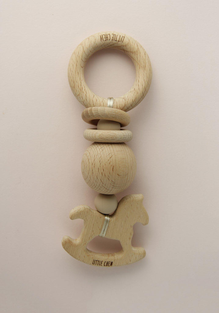 Horse Rattle Baby Toy Wooden Accessory Nursery