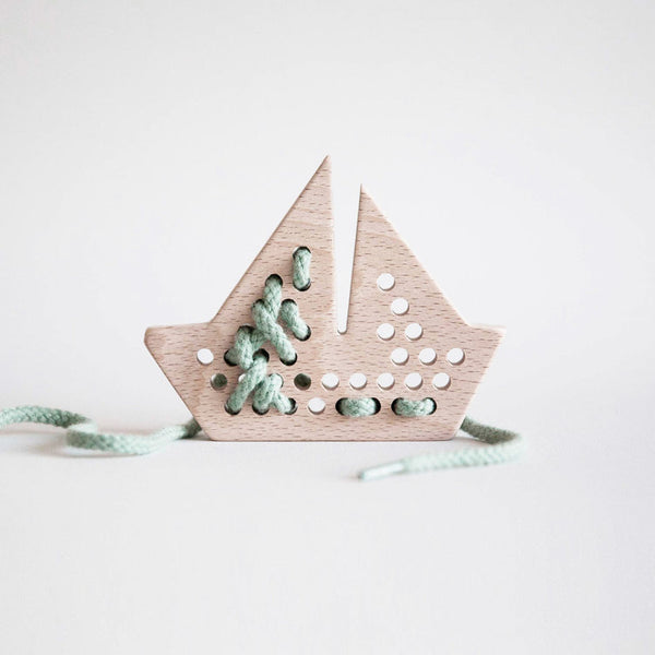 Wooden Lacing Boat-Toys-Aleta-House Of Mint