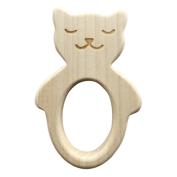 Wooden Cat Teether-Teethers-Briki Vroom Vroom-House Of Mint