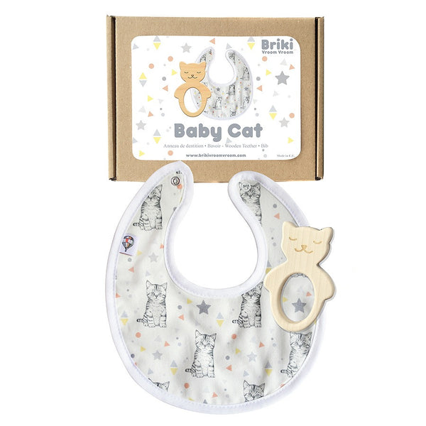 Cat Teether & Bib Gift Box-Accessories-Briki Vroom Vroom-House Of Mint