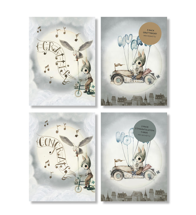 Congratulation Cards 2-pack Flying Car-Stationary-Mrs Mighetto-House Of Mint