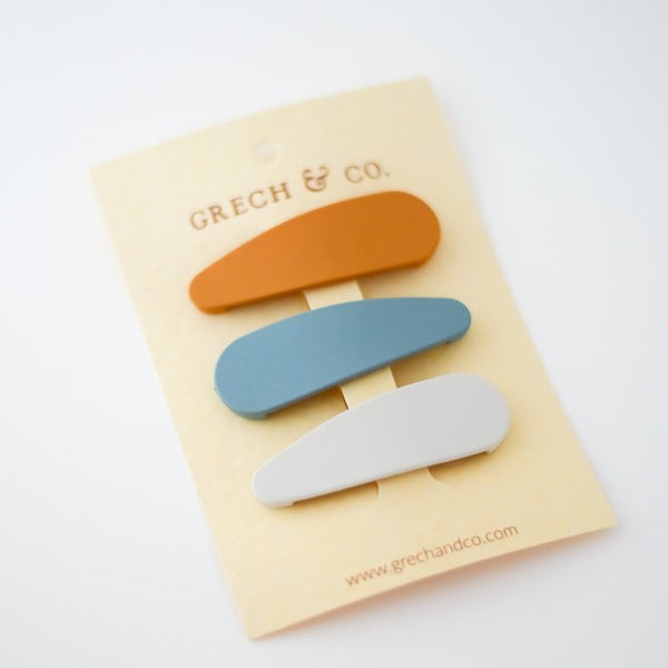 Snap Matte Clip Set of 3- Golden, Light Blue, Buff  Girl Hair Accessoires Grech & Co House of Mint